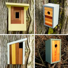 Built by hand? Check. His own design? Check. Made of reclaimed materials? Check. Good-looking enough you'd be jealous of any bird who got to live in one of these sweet modern abodes? Yep. Twig & Timber Etsy shop rockin' the sleek lines and angled roofs that make any modern design