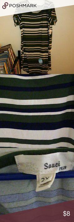 Olive Top/Dress 92% Polyester 8% Spandex Sauci Plus Dresses Midi