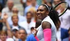 Serena Williams is all smiles after beating Johanna Larsson in the US Open.