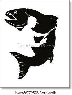 Fish and fisherman silhouette - Photography, Landscape photography, Photography tips Fish Silhouette, Animal Silhouette, Silhouette Vector, Fishing Signs, Sport Fishing, Fishing Boats, Chalk Design, Silhouette Photography, Book Folding Patterns