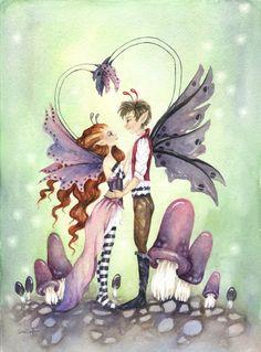 Fantasy Fine Art Print 5x7 Faery Romance by FaeryDustArt on Etsy