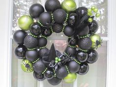 Halloween Ornament Wreath Black and Lime by MimisVintageGoodies