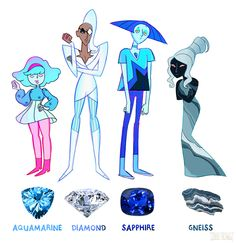 I love these character designs, but I think Sapphire and Gneiss are just too sad for the happy world of Steven Universe.