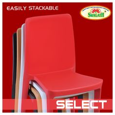 SELECT - Stackable monoblock chair moulded in virgin polypropylene. Full solid and smooth backrest gives this matte finish #chair a bold look and a commanding presence. The ergonomic shape of this modern chair makes it inviting and offers great comfort. Find more details of the available colors at www.swagath.co today!!