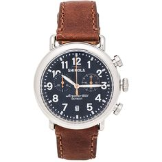 Shinola The Runwell Chrono 41mm ($750) ❤ liked on Polyvore featuring men's fashion, men's jewelry, men's watches and watches