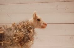 Needle-Felted-White-Gray-Ewe-Sheep-Farm-Animal-Wool-Art-Handmade-Art-Sculpture  Needle Felted Sheep by Felted Antlers
