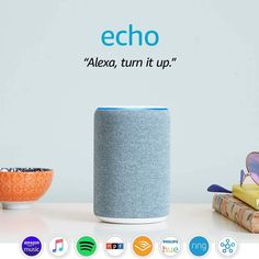 Alexa, play top hits  Use your voice to play a song, artist, or genre through Amazon Music, Apple Music, Spotify, Pandora, and others. With compatible Echo devices in different rooms, you can fill your home with music. Also listen to Audible, podcasts, radio stations, or pair with Fire TV to voice control movies and entertainment. Alexa Speaker, Echo Speaker, Alexa Device, Alexa App, Alexa Echo, Echo Echo, Apple Watch Series 3, Amazon Echo, Amazon Fr