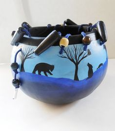 Animal Totem Silhouette  Painted Gourd Art Bowl with Chunky Wooden Bead Leather Lacing Handmade Gourd Art
