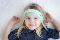 Mint Braid Knot Baby Headband Turban Headwrap by hollyblossoms