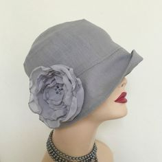 Reserved for Susan, Gray Linen Cloche Hat, Summer Hat, Downton Abbey Hat, Cool Linen, Chiffon Flower, Women's Couture Hats, Handmade in USA
