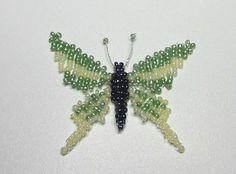 Papillon en perles de rocaille et en tissage plat et 3D - Perlotines.fr