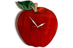 Apple Decor Large Wall Clock Stained Glass Red by ZangerGlass