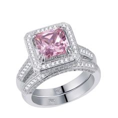3.6 Ct Solid 925 Sterling Silver Jewelry For Women Wedding Ring Sets Princess Cut AAA  Free Shipping