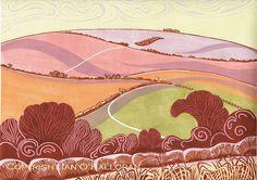 'Summer on Mill Down' linoprint 40.9w x 30.5h (cms) Edition of 25 © Ian O'Halloran