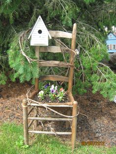 Save an old chair for a repurposed planter in the garden.