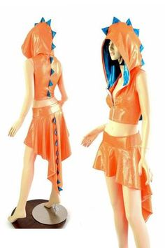 Dragon Tail Skirt & Crop Hoodie Set Dragon Tail, Blue Dragon, Charmander Charmeleon Charizard, Dinosaur Dress, Cute Dragons, Cropped Hoodie, Cosplay Costumes, Hemline, Ballet Skirt