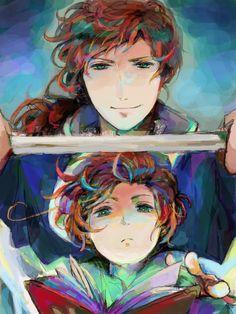 Antonio and young Lovino - Art by かこかこ - Spain and Romano
