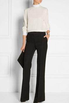 White crepe Button-fastening keyhole at back acetate, viscose; trim: cotton Dry clean Made in France Business Outfit, Business Casual Outfits, Business Dresses, Professional Outfits, Office Outfits, Fall Outfits, Cute Outfits, Fashion Mode, Office Fashion