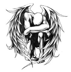 An awesome black and gray tattoo design of a fallen angel. Style: Black and Gray. Color: Gray. Tags: Awesome