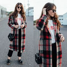 Tonya S. - Zara Checked Coat, Reformation Tee, Armadio Bag, Frame Le Crop Boot, Kelsi Dagger Loafers - Plaid Coat for Fall