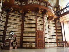 The library at the Benedictine monastery in Seitenstetten in the Mostviertel region of Lower Austria; a beautiful library, with very old precious books, centuries old, all bound in white leather.