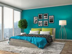 Chic Home Decor Ideas Bedroom Wall Designs, Bedroom Wall Colors, Modern Bedroom Design, Bedroom Styles, Home Decor Bedroom, Living Room Designs, Living Room Decor, Master Bedroom, Bedroom Turquoise