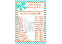 Coral and Turquoise Baby Shower Game Who Knows by BabyShowerBakery