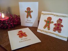 Gingerbread men and women Christmas cards! All supplies from my favourite shop, Michaels! #Michaelscraftstore #Christmas #Cards #Homemade