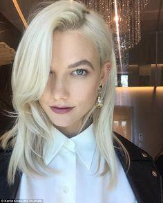 Bold statement: The former Victoria's Secret model debuted her platinum blonde locks in July; the stunner has natural sandy blonde hair