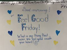 CLICK Visit link above for more info Feel Good Friday, Morning Activities, Daily Writing Prompts, Bell Work, Responsive Classroom, Grades, Classroom Community, Morning Messages, Student Teaching