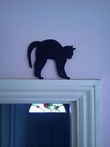 Cat with an arched back mdf wooden silhouette door topper unique present Cat Crafts, Wood Crafts, Diy And Crafts, Cat Template, Wood Craft Patterns, Manualidades Halloween, Wood Animal, Halloween Village, Cat Quilt