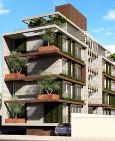Green Wall Office Building Architecture Modern House Facade
