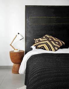 About Interior Decorating Design Geek Kuba Cloth by AphroChic / Bryan Mason Decor, Furniture, Black Bedding, Interior, Home Bedroom, Bedroom Design, House Inspiration, Black Headboard, Bedroom Inspirations