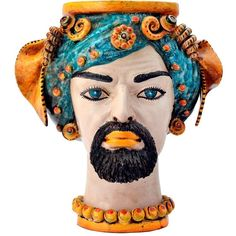 Sicily & More Home King Ceramic Moor's Head ($1,515) ❤ liked on Polyvore featuring home, home decor, multi, colorful home decor, ceramic home decor, handmade home decor and traditional home decor
