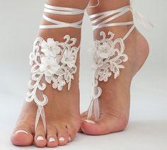 Beach wedding barefoot sandals FREE SHIP embroidered sandals, ivory Barefoot , french lace sandals, wedding anklet,