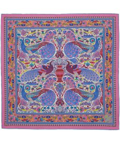Liberty London Pink Peacock Garden Silk Scarf | Scarves by Liberty London | Liberty.co.uk