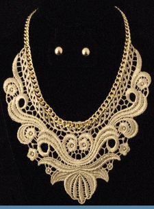 Vintage Style Gold Lace & Chain Necklace Set with Earrings $24 @ www.whimzaccessories.com