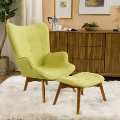 Add some color to your living room with this colorful chair and ottoman set. Not only will you be lounging in comfort in your living room, but it is a great conversation piece and an overall wonderful addition to any living room setup. This chair and Living Room Setup, Living Room Chairs, Living Room Furniture, Furniture Sets, Rustic Furniture, Green Furniture, Furniture Dolly, Furniture Logo, Retro Furniture