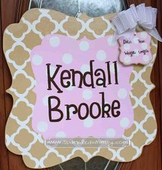 This personalized, hand-painted, wooden, door hanger welcomes your new addition! This can be used for the baby shower, in the hospital and when you bring your bundle of joy home as well.  Personalized Quatrefoil Baby Sign For Hospital by Sparkled Whimsy,