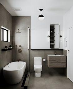 Modern Bathtub with Rain Shower and Clear Glass Partition Small Full Bathroom, Small Bathroom Interior, Small Bathroom Layout, Bathroom Design Luxury, Small Bathtub, Bathtubs For Small Bathrooms, Modern Small Bathrooms, Bathroom Design Layout, Bathroom Tub Shower