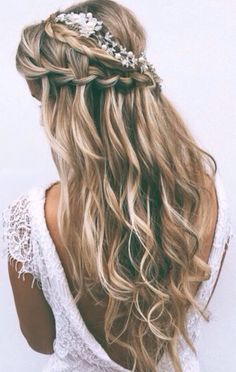 Balayage wavy hair with waterfall braid #gorgeoushair
