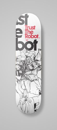 skate, robot, trust, the, board, deck, wood, white, black, red, skateboard