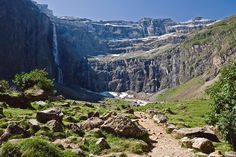 Grande Cascade de Gavarnie - France, Hautes-Pyrenees. 422 metres high, impressive falls. Its highest single drop is 281 metres. It is located in the impressive setting of an enormous glacial cirque.