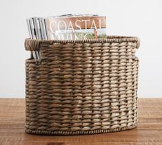 Handcrafted of seagrass, each basket in our Charleston Collection exhibits the variegated hues of the natural fibers highlighted with a cool gray wash. The oval basket is especially designed for holding magazines or books, but it's also h Home Office Accessories, Magazine Storage, Organizing Paperwork, Storage Organization, Storage Ideas, Gras, Trends, Storage Baskets, Shoe Storage