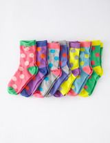 tri-coloured socks coordinate w/ a multitude of outfits , perk up a minimalist wardrobe, allow kids to express their personality.