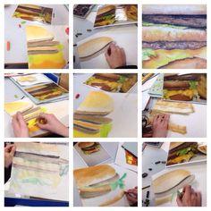Yr 9 studies. Burgers. Chalk pastel