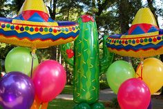 Our Cactus & Sombrero Foil Shapes by Balloon & Event Construction Company.