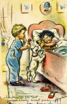 Bouret Images Vintage, Art Vintage, Vintage Dog, Vintage Artwork, Vintage Paper Dolls, Vintage Pictures, Vintage Cards, Vintage Children, Vintage Postcards