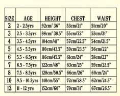 Child Waist Measurements  ChildrenS Size Chart Inches