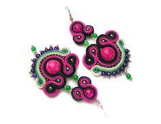 Fuchsia earrings - Sutasz-Anka http://www.soutage.com/2013/04/fuchsia-kolczyki.html